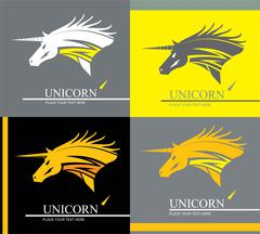 Unicorn, unicorn in various background. Stock Illustration