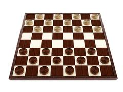 Checkers game board and pieces. 3D illustration Stock Illustration