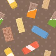 Vector chocolate and wafer pattern, seamless Stock Illustration