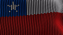 Colored soccer balls forming fabric Chile flag. Black screen. - stock footage