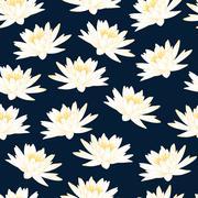 Water lily navy blue pattern Stock Illustration