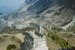 The Great Wallof China over mountains in Beijing, China. Stock Photos