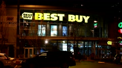 Outside shot of Best buy store at night in Coquitlam BC Canada. - stock footage
