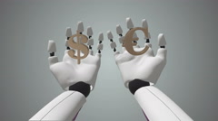 Animation of a Robot Arm Compare Euro And Dolar - stock footage