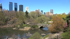 NYC Central Park at spring. The Pond and Hallett Nature Sanctuary Stock Footage