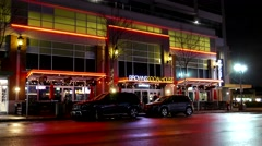 Outside shot of Browns socialhouse restaurant at night in Coquitlam BC Canada - stock footage