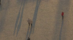 People walking on the pavement Stock Footage