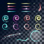 Glowing stars, Lights and Sparkles effect vector Stock Illustration