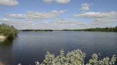 River and trees nature of the Yamal Peninsula Stock Footage