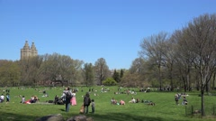 New Yorkers are resting on a grassy lawn in Central Park at the day off Stock Footage