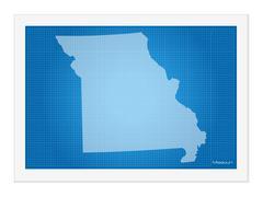 Missouri on blueprint Stock Illustration