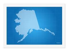 Alaska on blueprint Piirros