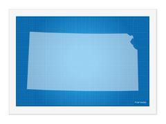 Kansas on blueprint - stock illustration