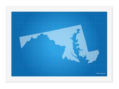 Maryland on blueprint - stock illustration