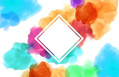 Colorful spotty watercolour illustration painting square copy space Stock Illustration
