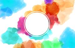 Colorful spotty watercolour illustration painting with circle copy space Stock Illustration