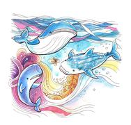 Whales colourful watercolor painting with abstract moving background - stock illustration