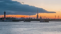 The Palace Bridge (Dvortsoviy Most). White Nights. Saint Petersburg, Russia Stock Footage