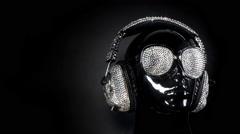 Mannequin music headphones diamonds crystals bling Stock Footage