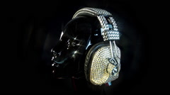 Mannequin music headphones diamonds crystals bling Stock Footage