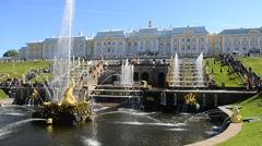 Peterhof, Russia, king's palace and fountain grand cascade, surroundings of St.  - stock footage