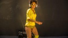 rollerskate skating urban babe woman dancer - stock footage