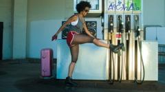 Rollerskate skating urban babe woman dancer Stock Footage