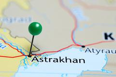 Astrakhan pinned on a map of Russia Stock Photos