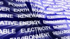 RENEWABLE ENERGY Keywords on Carpet, Background, Loop, 4k Stock Footage