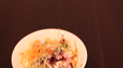 Vegetarian Dish in Singapore Restaurant Stock Footage