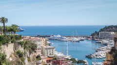 Monaco monte carlo port harbour riviera france sea coast boats Stock Footage