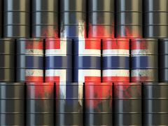 Oil fuel of Norway energy concept. Norwegian flag painted on oil barrels. - stock illustration