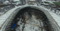 Aerial view of the construction of football stadium for the European Stock Footage