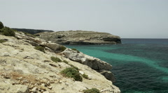 Blue Lagoon at Comino in Malta in sunny summer day Stock Footage