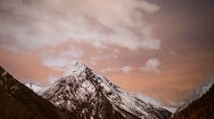 Saas fee alps  switzerland mountains snow peaks ski night stars Stock Footage