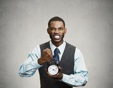 Closeup portrait angry, mad, demanding, boss business man, funny looking guy  - stock photo