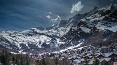 Saas fee alps switzerland mountains snow village ski Stock Footage