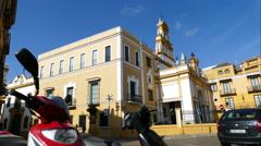 Basilica de la Macarena, streetlife in time lapse Stock Footage