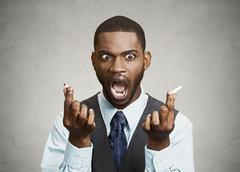Man finally says no to smoking Stock Photos