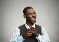 Happy businessman pointing fingers at you Stock Photos