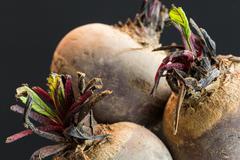 Three farm fresh raw beetroot - stock photo