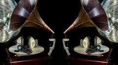 Diamond crystals headphones gramophone music party club Stock Footage