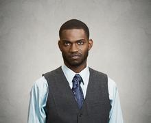 Grumpy, skeptical, displeased man Stock Photos
