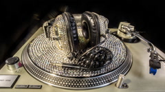 diamond crystals headphones turntables dj music party club - stock footage