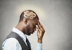 Man thinking hard - stock photo