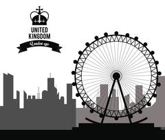 London eye icon. United kingdom design. vector graphic Stock Illustration