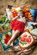 Baby, hay, cushions, country Stock Photos