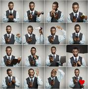 Collage of a smart phone addicted man - stock photo