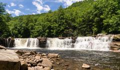 Three distinct waterfalls at High Falls of Cheat Stock Photos