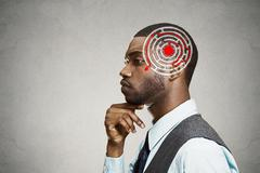 Right decision wisdom strategy concept. Man solving problem thinking Stock Photos